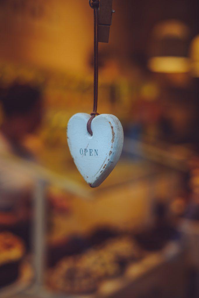 white heart key chain