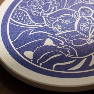 【強心真工作室】Amaygo Bar 繪心之光設計款原創杯墊 | 台灣陶瓷 | 防水杯墊- 藍白